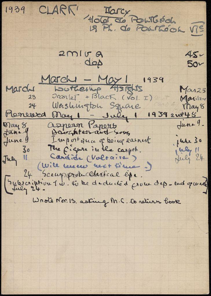 John d'Arcy Clark 1939 card (large view)