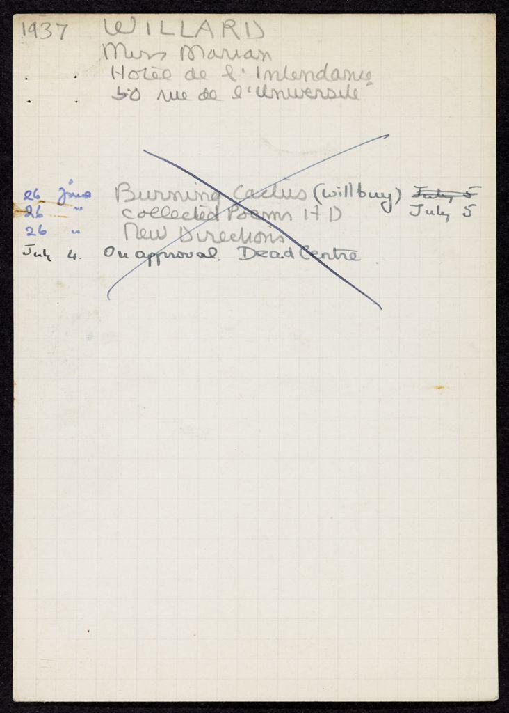 David Willard 1937 card (large view)