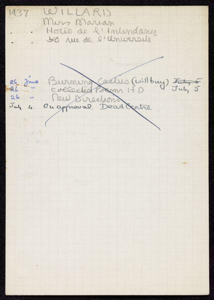 David Willard 1937 card