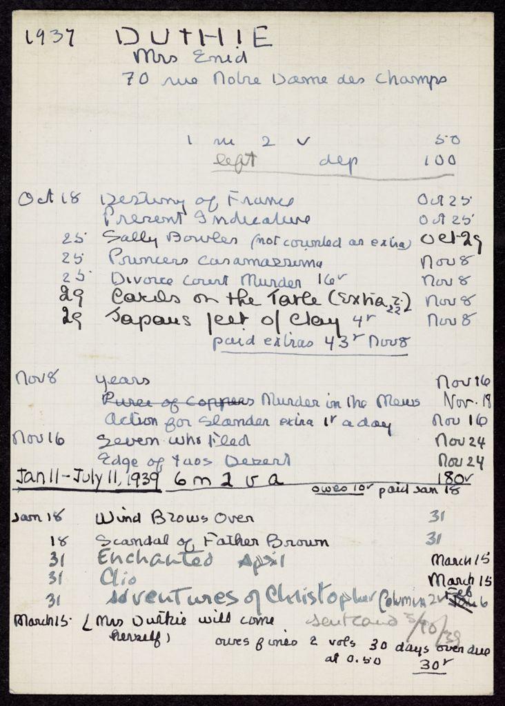Enid Duthie 1937 – 1939 card (large view)