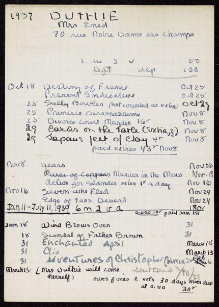 Enid Duthie 1937 – 1939 card