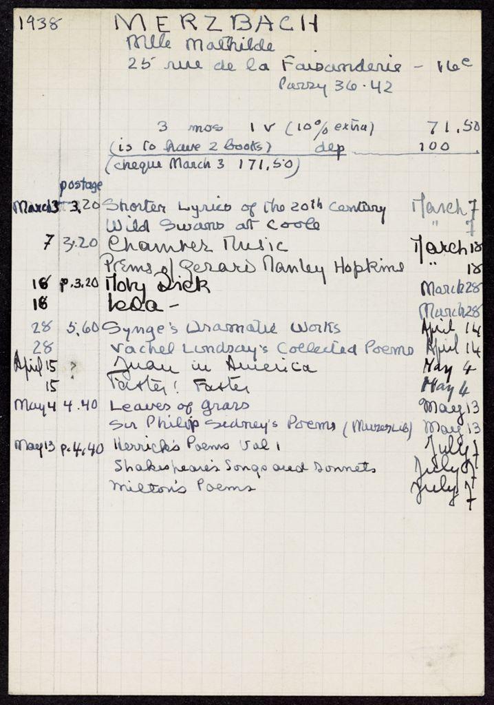 Mathilde Merzbach 1938 card (large view)