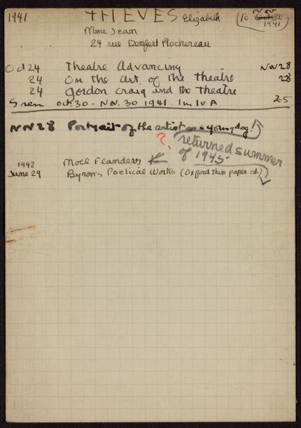 Elizabeth Theves 1941 – 1942 card
