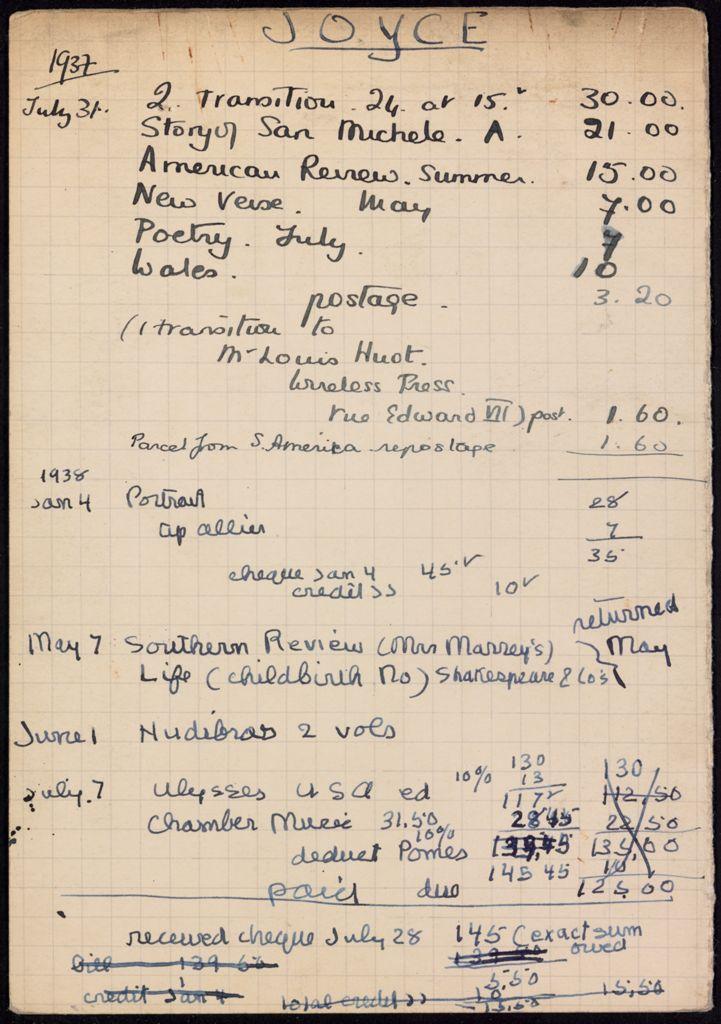 James Joyce 1937 – 1938 card (large view)