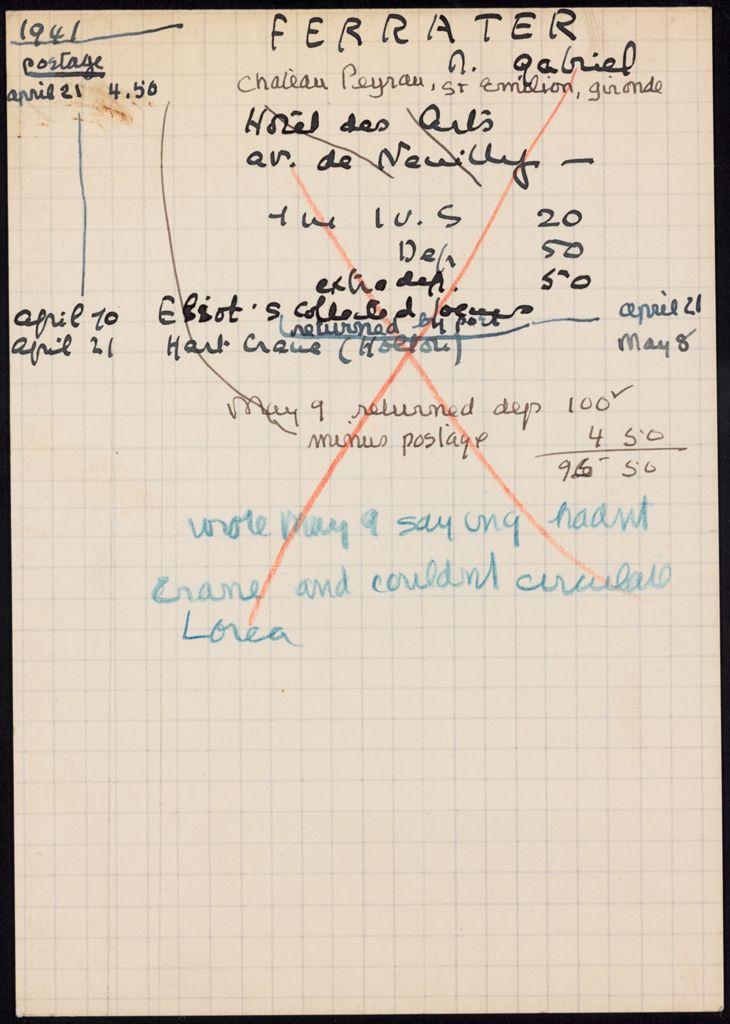 Gabriel Ferrater 1941 card (large view)
