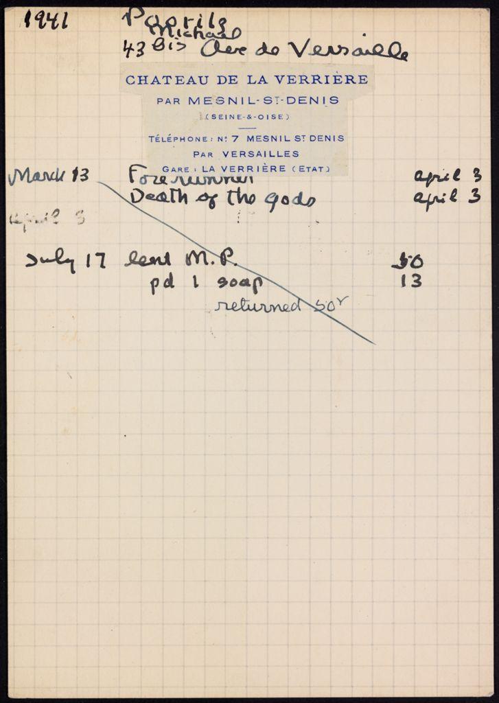 Michael Poorilz 1941 card (large view)