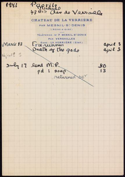 Michael Poorilz 1941 card