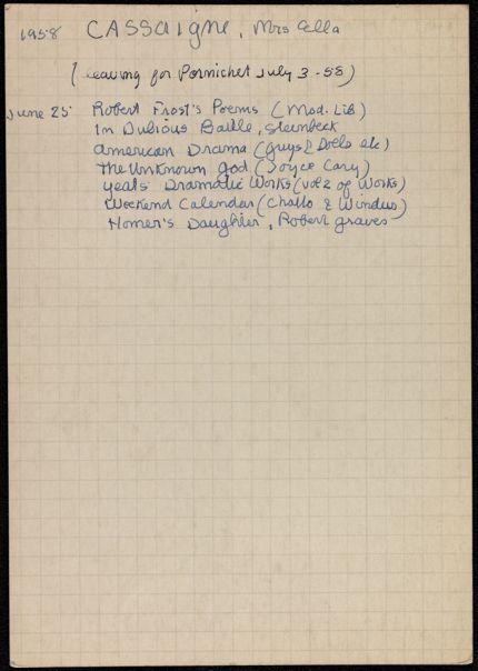 Ella Cassaigne 1958 card