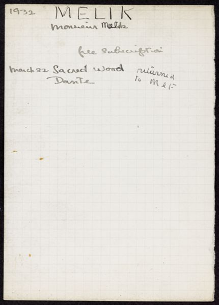 M. Melik 1932 card