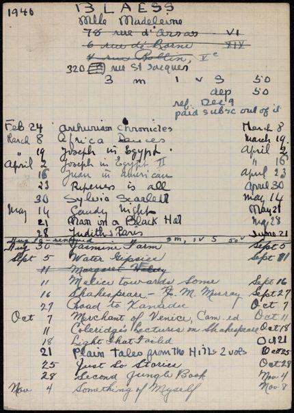 Madeleine Blaess 1940 card