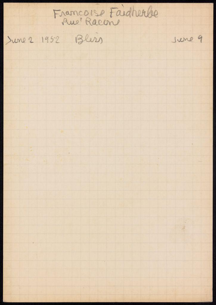 Françoise Faidherbe 1952 card (large view)