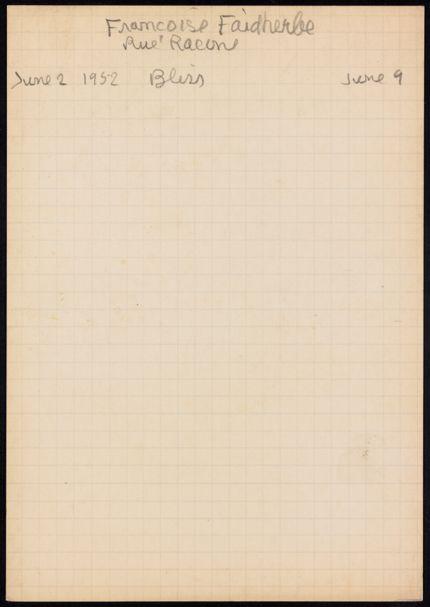 Françoise Faidherbe 1952 card