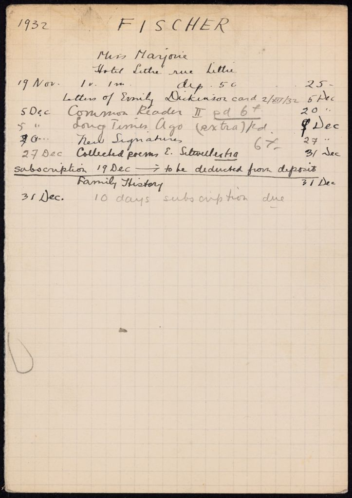 Marjorie Fischer 1932 card (large view)