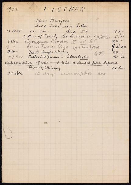 Marjorie Fischer 1932 card