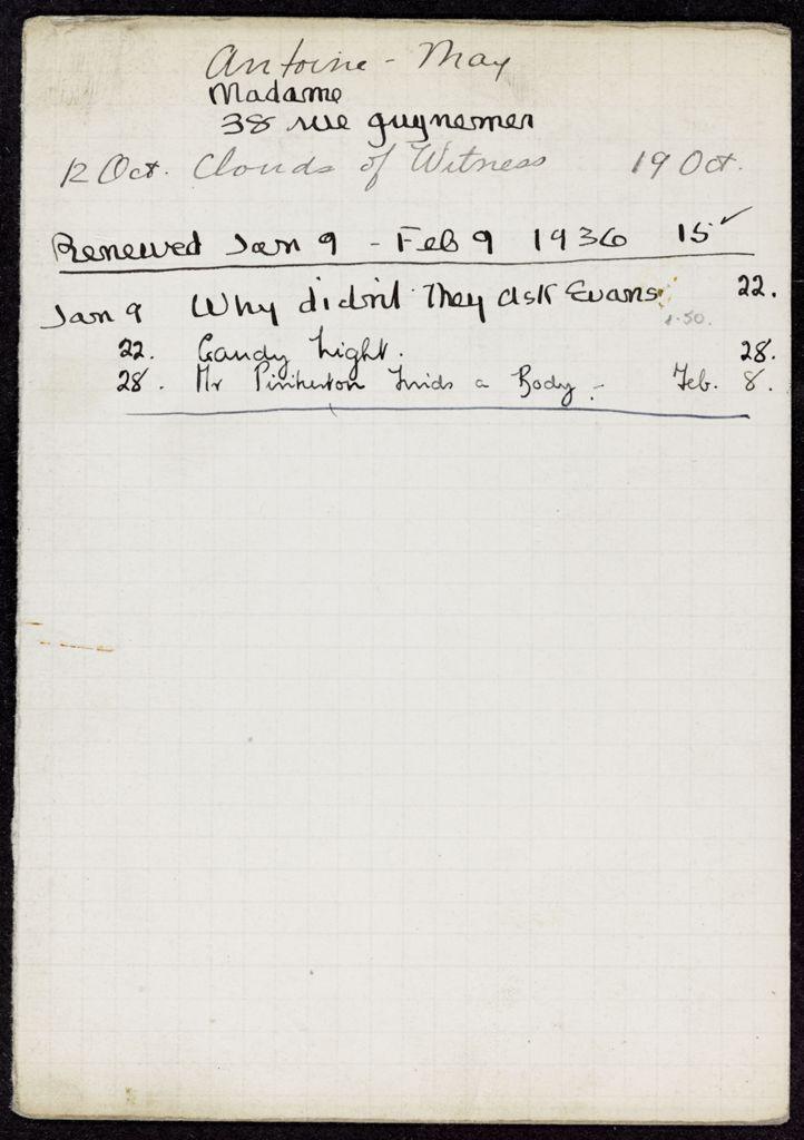 Renée Antoine-May 1935 – 1936 card (large view)