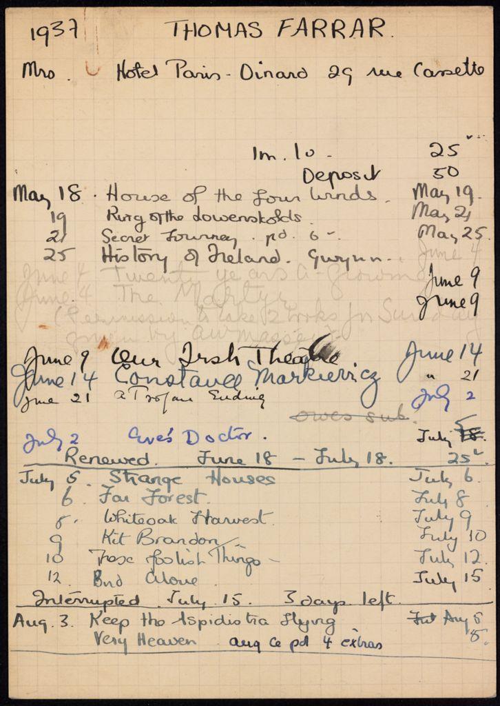 Mrs. Thomas Farrar 1937 card (large view)