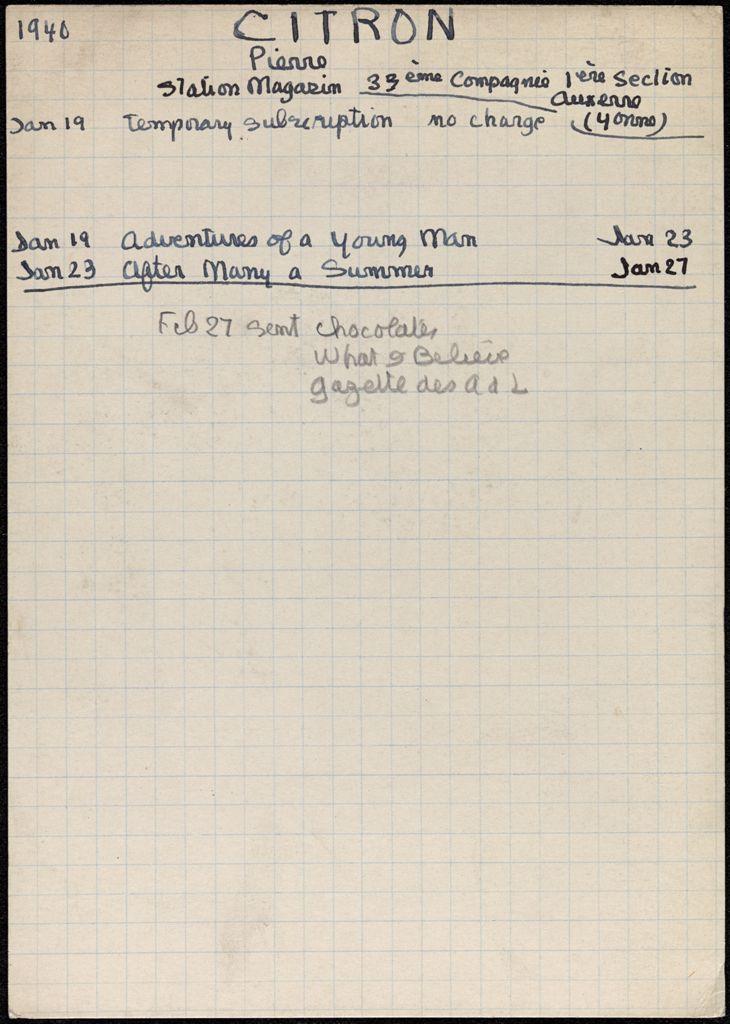Pierre Citron 1940 card (large view)