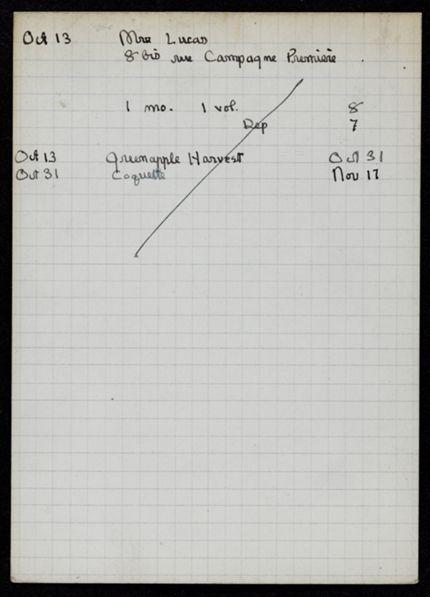 Mrs. Lucas 1921 card