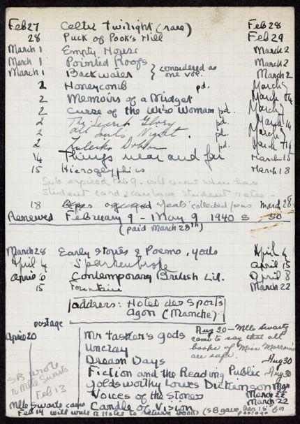 Christine Morrow 1940 – 1941 card