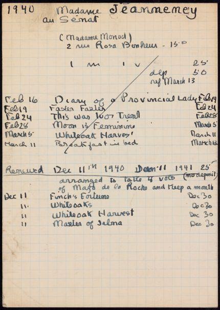 Marie-Laure Jeanneney 1940 – 1941 card