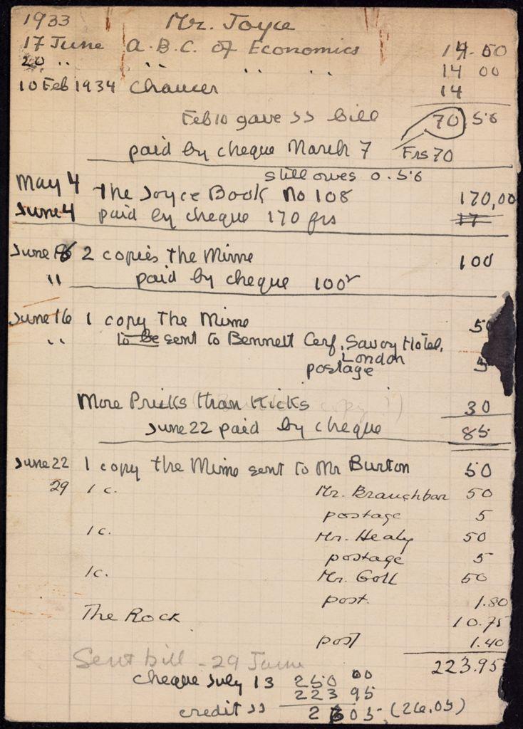 James Joyce 1933 – 1934 card (large view)