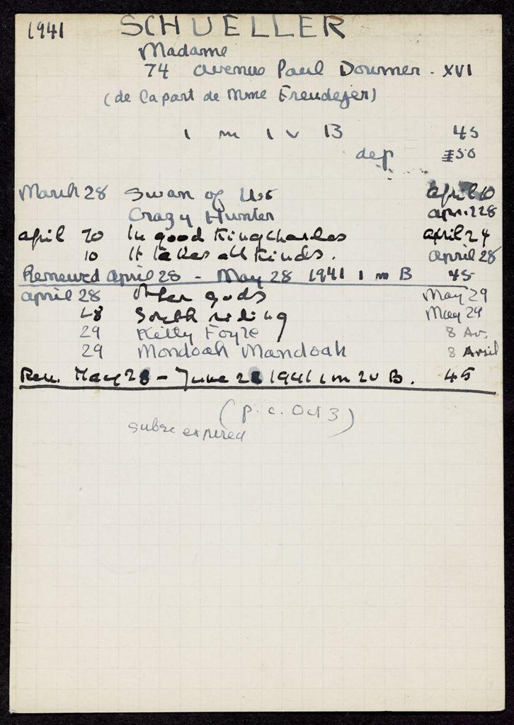 Mme Schueller 1941 card (large view)
