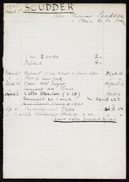 Thomas Scudder 1926 card