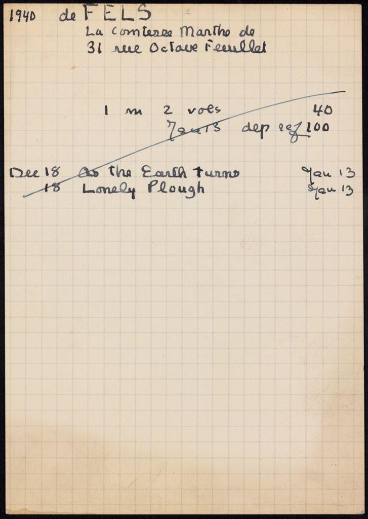 Marthe de Fels 1940 – 1941 card (large view)
