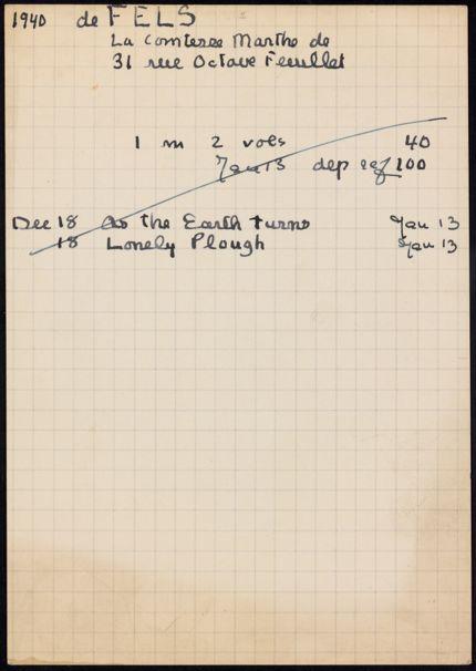 Marthe de Fels 1940 – 1941 card