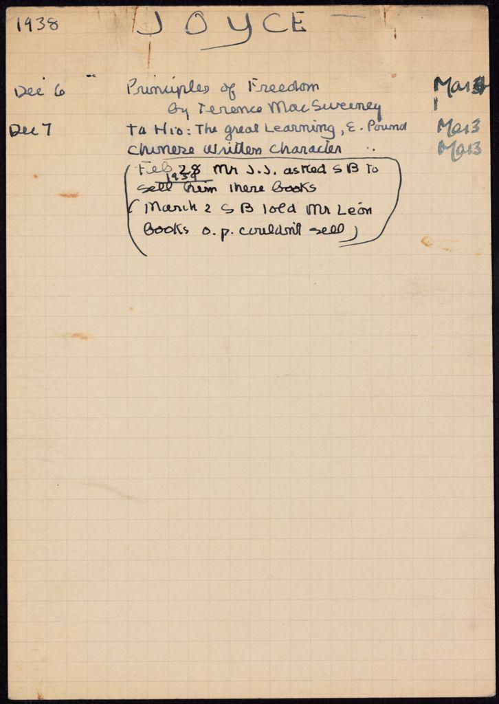 James Joyce 1938 – 1939 card (large view)