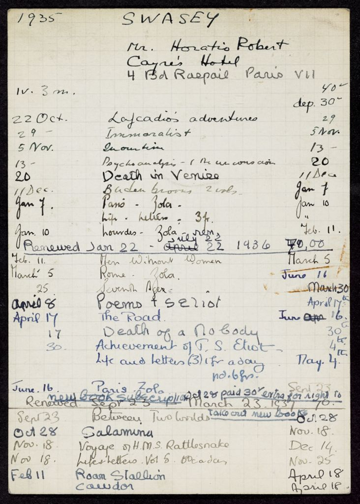 Horatio Robert Swasey 1935 – 1937 card (large view)