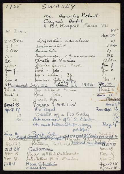 Horatio Robert Swasey 1935 – 1937 card