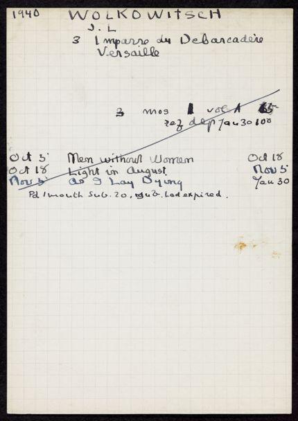 J. L. Wolkowitsch 1940 – 1941 card
