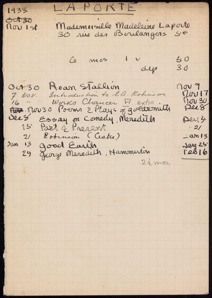 Madeleine Laporte 1933 – 1934 card (large view)