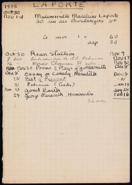Madeleine Laporte 1933 – 1934 card