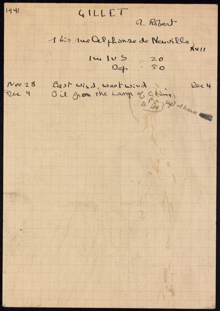 Robert Gillet 1941 card (large view)