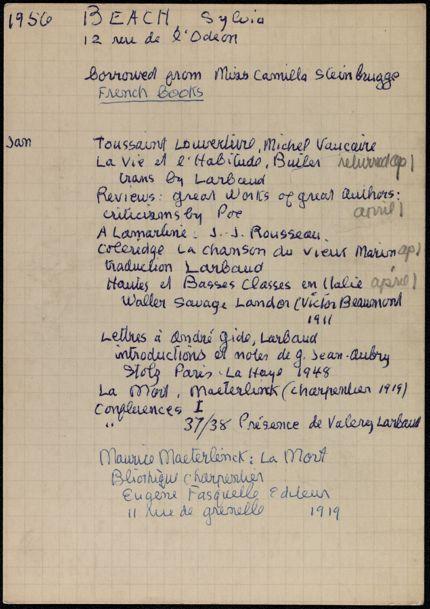 Sylvia Beach 1956 card