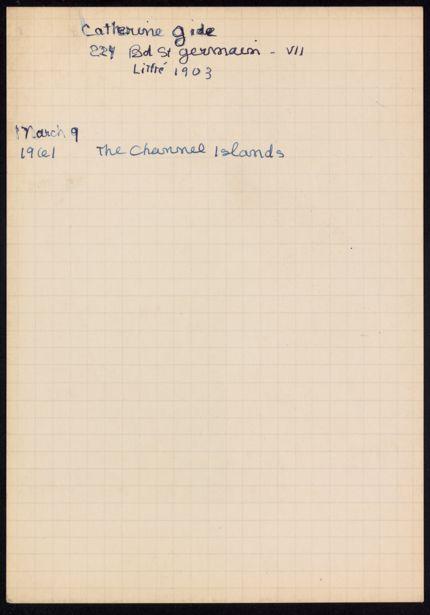 Catherine Gide 1961 card