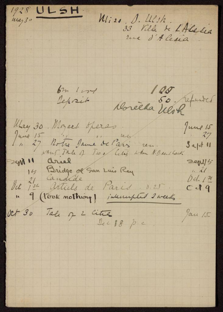 Doretha Ulsh 1928 – 1929 card (large view)