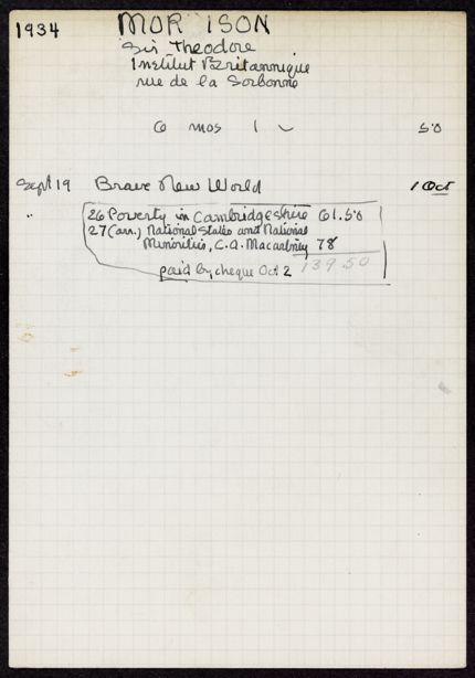 Theodore Morison 1934 – 1935 card