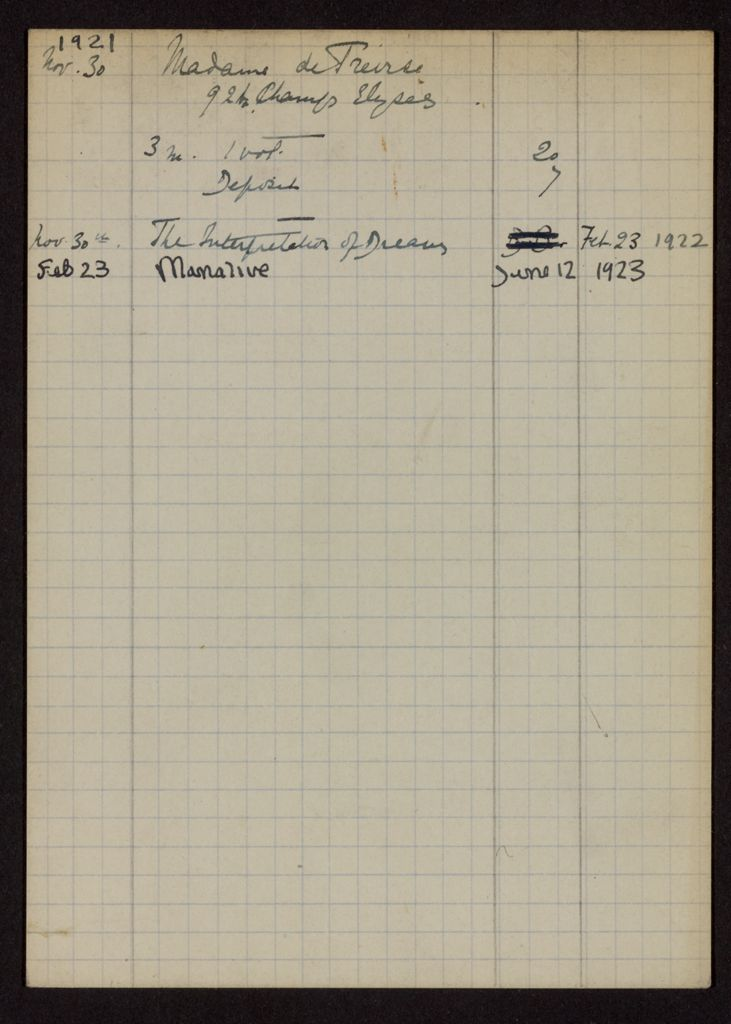 Mme de Treirse 1921 – 1923 card (large view)