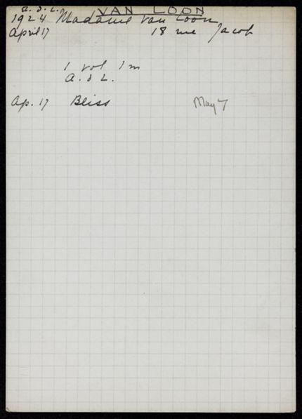 Mme van Loon 1924 card