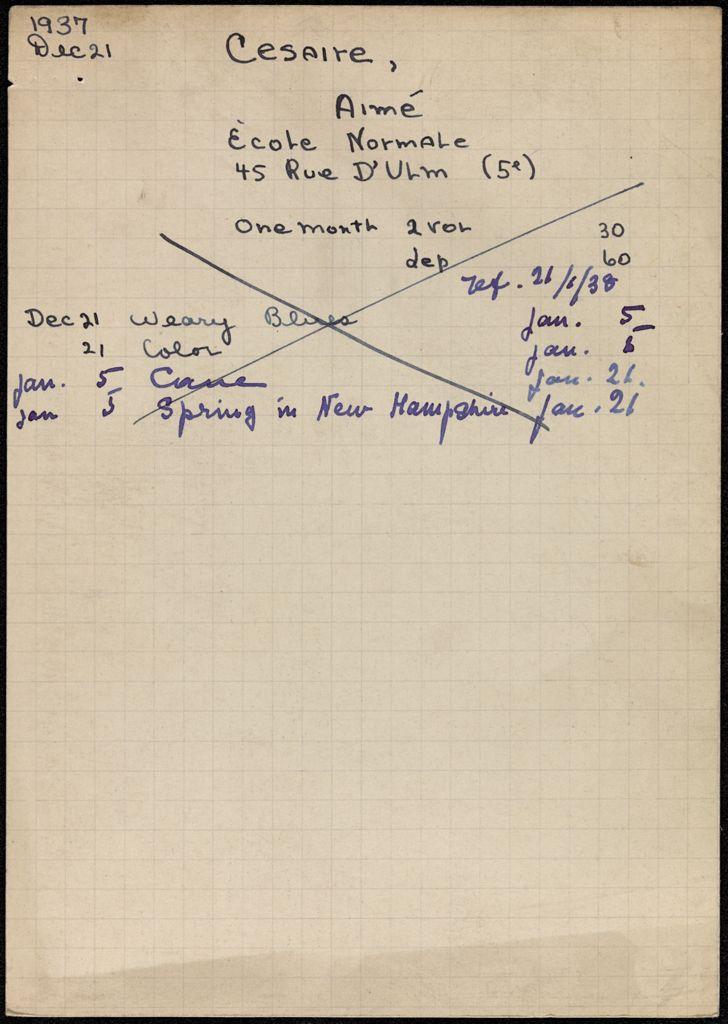 Aimé Césaire 1937 – 1938 card (large view)