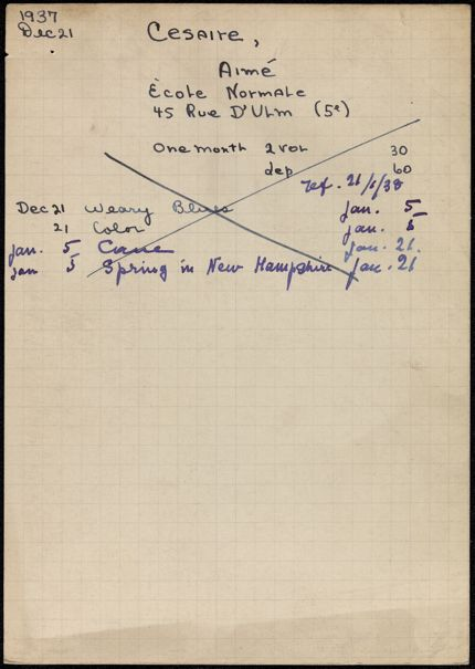 Aimé Césaire 1937 – 1938 card