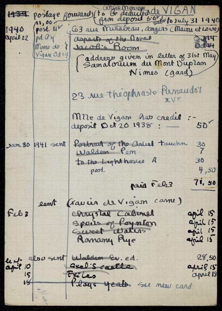 Monique de Vigan 1940 – 1941 card (large view)