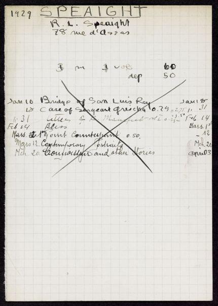 R. L. Speaight 1929 card