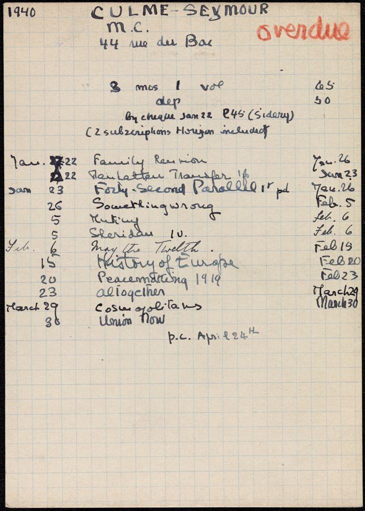 M. C. Culme-Seymour 1940 card (large view)
