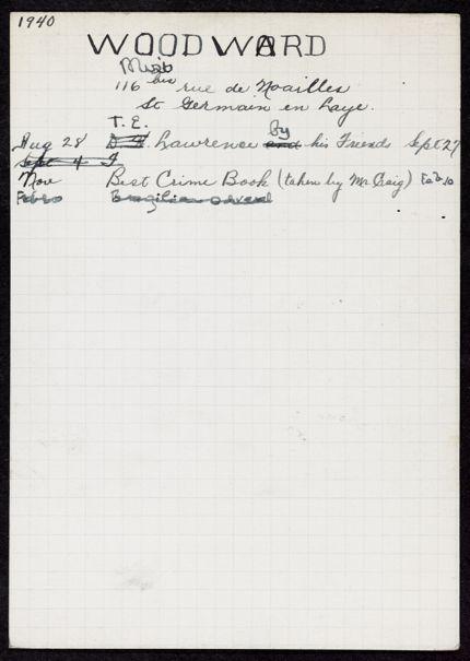 Daphne Woodward 1940 card