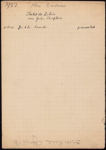 Max Eastman 1927 card