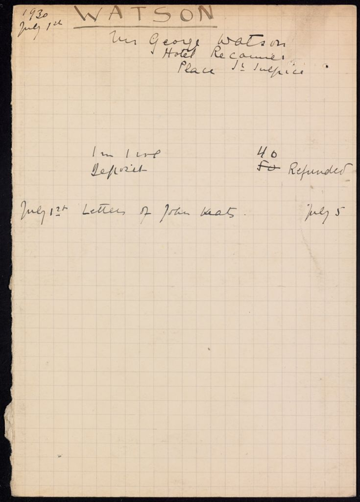 George Watson 1930 card (large view)